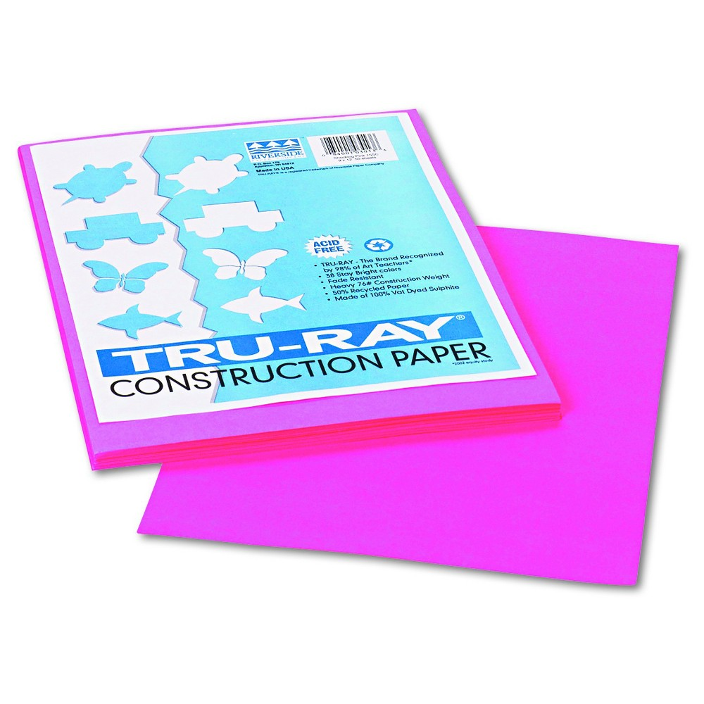 Pacon Tru-Ray Construction Paper, 76 lbs., 9 x 12 - Pink (50 Sheets Per Pack), Shocking Pink