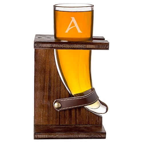 Cathy's Concepts 16 oz. Personalized Glass Viking Beer Horn with Rustic Stand-B, Brown Clear