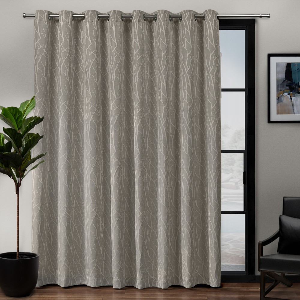 "Image of ""108""""x84"""" Forest Hill Patio Woven Blackout Grommet Top Single Curtain Panel Natural - Exclusive Home"""