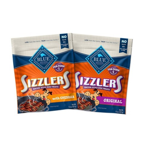 Blue Buffalo Sizzlers Pork and Cheddar Dog Treat Variety Pack - 15oz - image 1 of 4