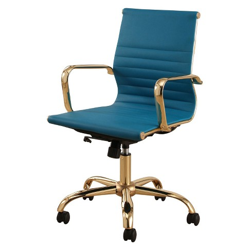 Jackson Gold Finish Leather Office Chair - Turquoise - Abbyson - image 1 of 3