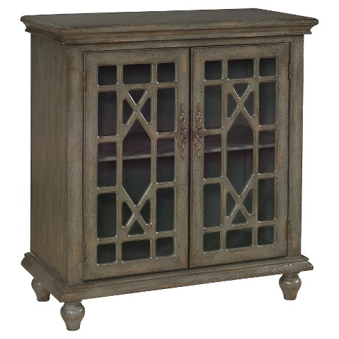 Storage Cabinet Two Door Cutout Natural - Christopher Knight Home - image 1 of 2