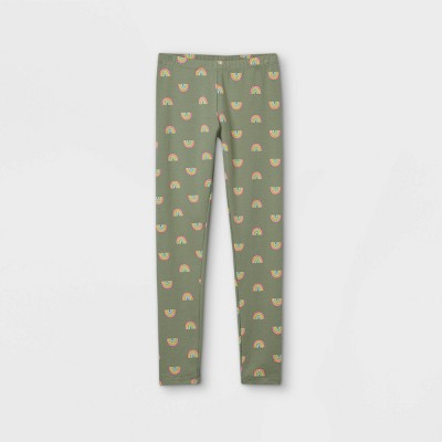 Girls' Rainbow Leggings - Cat & Jack™ Army Green