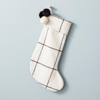 Windowpane Plaid Poms Stocking Cream/Gray - Hearth & Hand™ with Magnolia