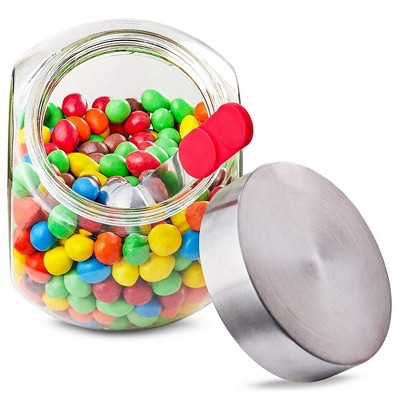 58 Ounce Glass Penny Jar With Magnetic Stainless Steel Lid And Scoop For Candy, Dry Goods, And Food Storage