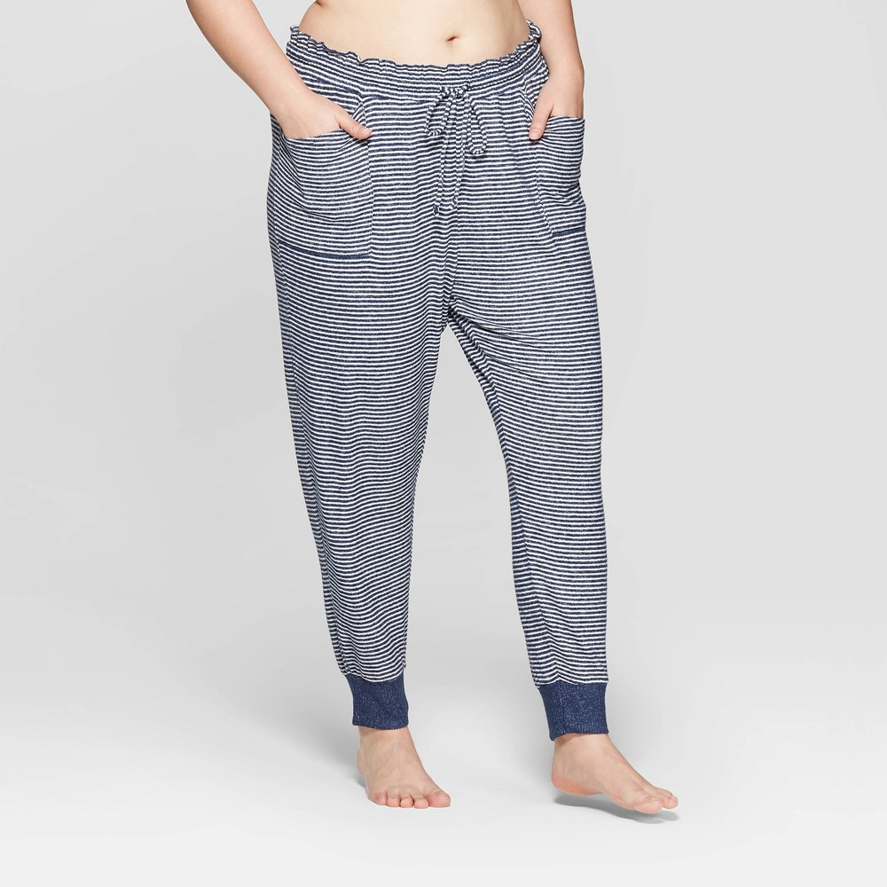 Women's Striped Plus Size Perfectly Cozy Lounge Jogger Pants - Stars Above Navy 4X, Blue