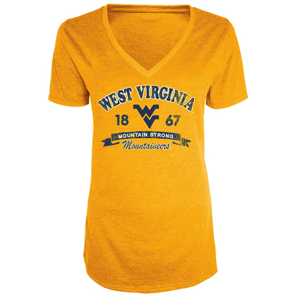West Virginia Mountaineers Women's Short Sleeve Heathered V-Neck T-Shirt - XL, Multicolored