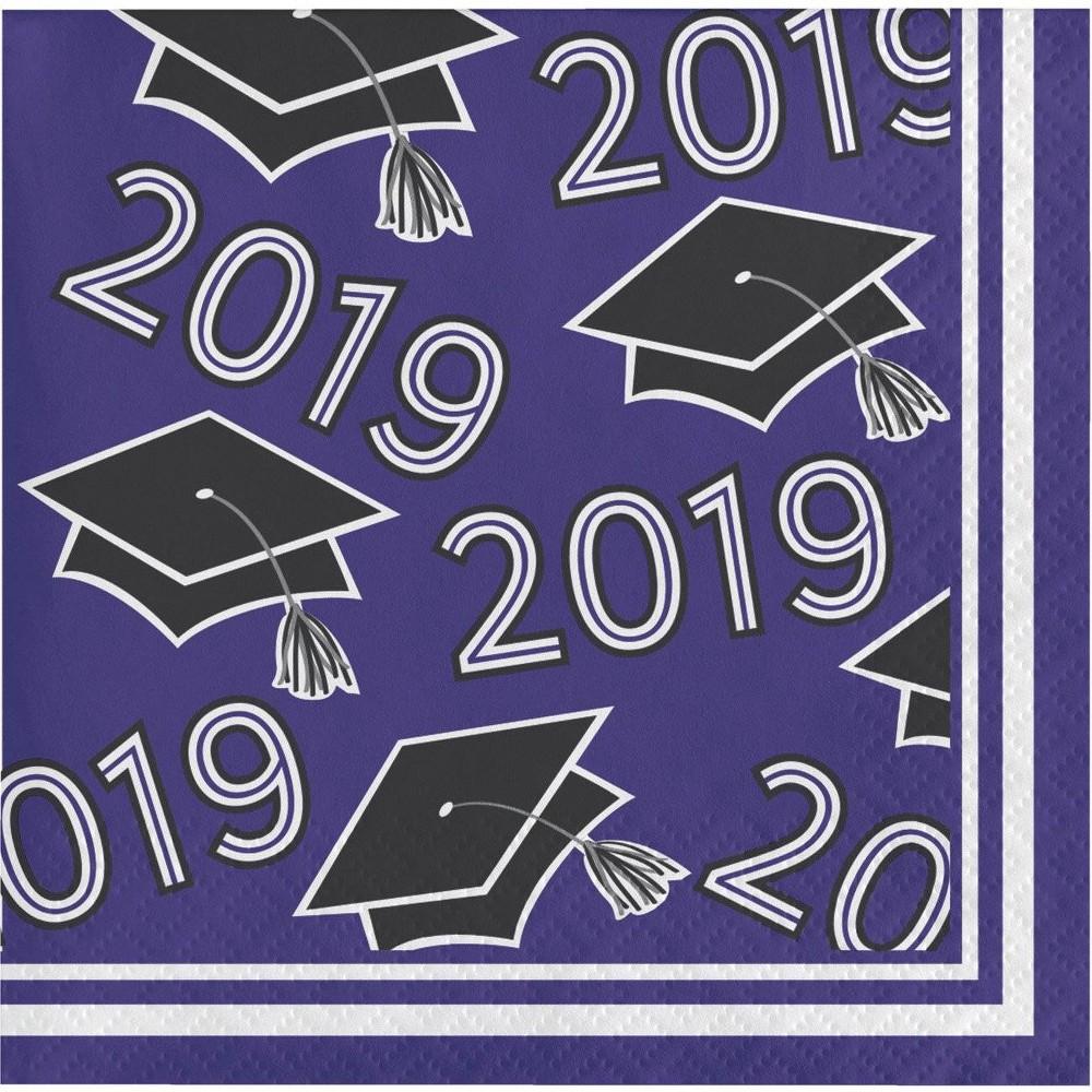 Image of 108ct Graduation School Spirit Disposable beverage Napkins Purple