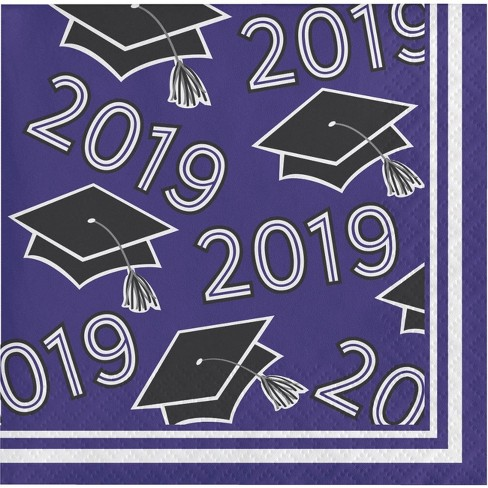 108ct Graduation School Spirit Disposable beverage Napkins Purple - image 1 of 1