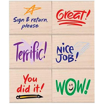 Hero Arts Rubber Woodblock Stamp Set, Teacher Approval, set of 6