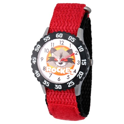 Boys' Marvel® Guardians Of The Galaxy Evergreen Rocket Raccoon Stainless Steel Time Teacher Watch - Red - image 1 of 2
