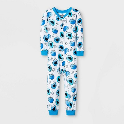 Baby Boys' Cookie Monster Union Suit - White 9M