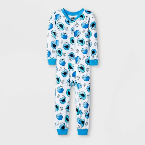 Toddler Boys' Cookie Monster Snug Fit Union Suit - White  - image 1 of 1