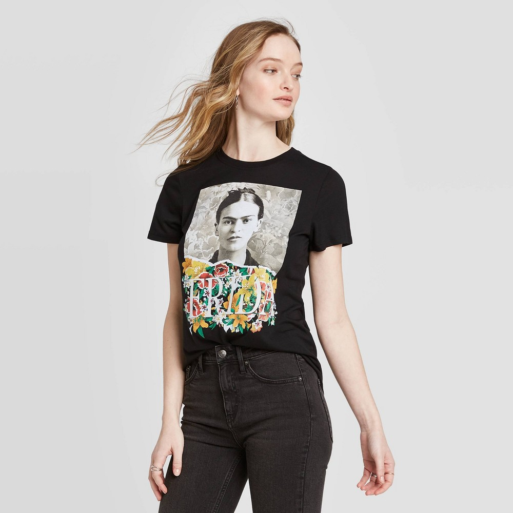 Image of Women's Frida Kahlo Short Sleeve Graphic T-Shirt (Juniors') - Black S, Women's, Size: Small