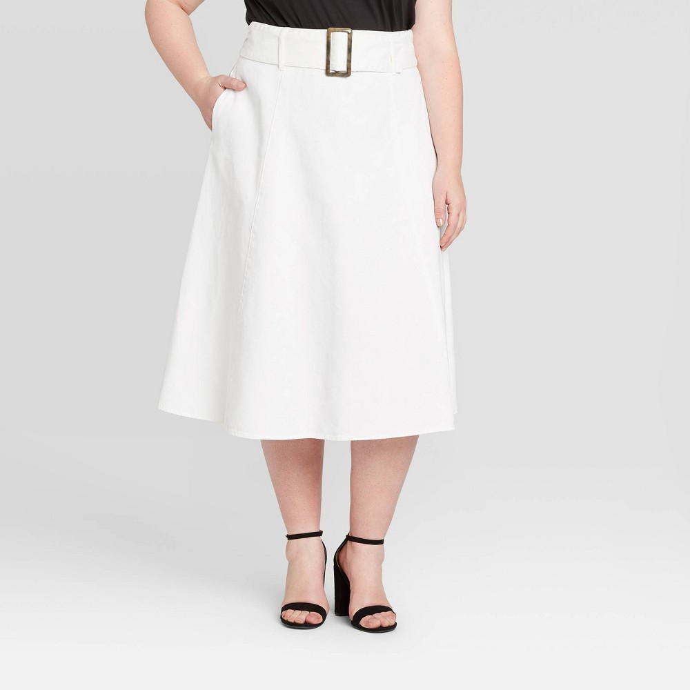 Women's Plus Size Mid-Rise A-Line Midi Skirt - Who What Wear White 22W, Women's was $32.99 now $23.09 (30.0% off)
