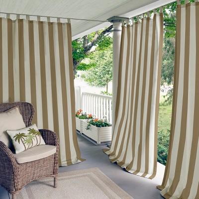 Highland Stripe Indoor/Outdoor Window Curtain for  Patio, Pergola, Porch, Cabana, Deck, Lanai - Elrene Home Fashions