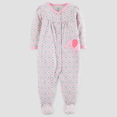 Baby Girls' Cotton Elephant Print Sleep N' Play - Just One You™ Made by Carter's® Cream 3M