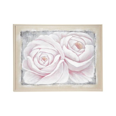 """39.5"""" x 29.5"""" Large Roses Acrylic Painting on Canvas in Wood Frame White/Pink - Olivia & May"""