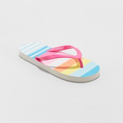 332c519784becb Girls  Mari Striped Flip Flop Sandals - Cat   Jack™ Fuchsia   Target
