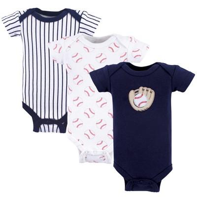 Luvable Friends Baby Boy Cotton Preemie Bodysuits 3pk, Baseball, Preemie