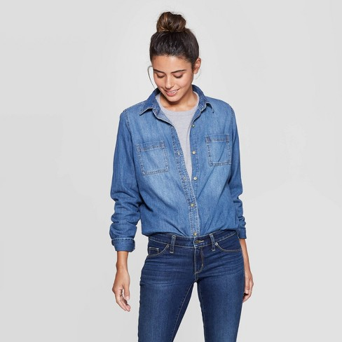 Women's Long Sleeve Collared Labette Denim Woven Shirt - Universal Thread™ Blue - image 1 of 3