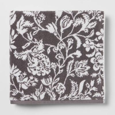 Performance Bath Towel Dark Gray Floral - Threshold™