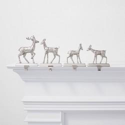 4ct Silver Deer Family Christmas Stocking Holder Set - Wondershop™