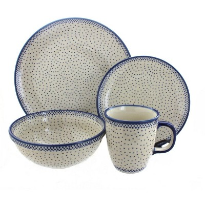 Blue Rose Polish Pottery Small Dots 4 Piece Place Setting - Service for 1