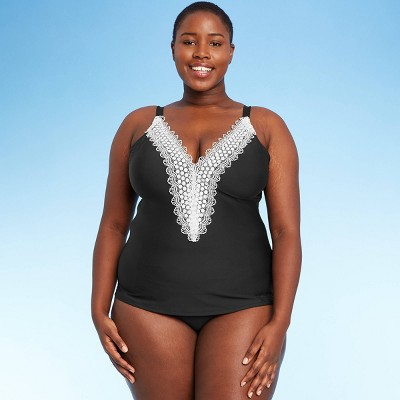 Women's Lace Tankini Top - Sea Angel Black