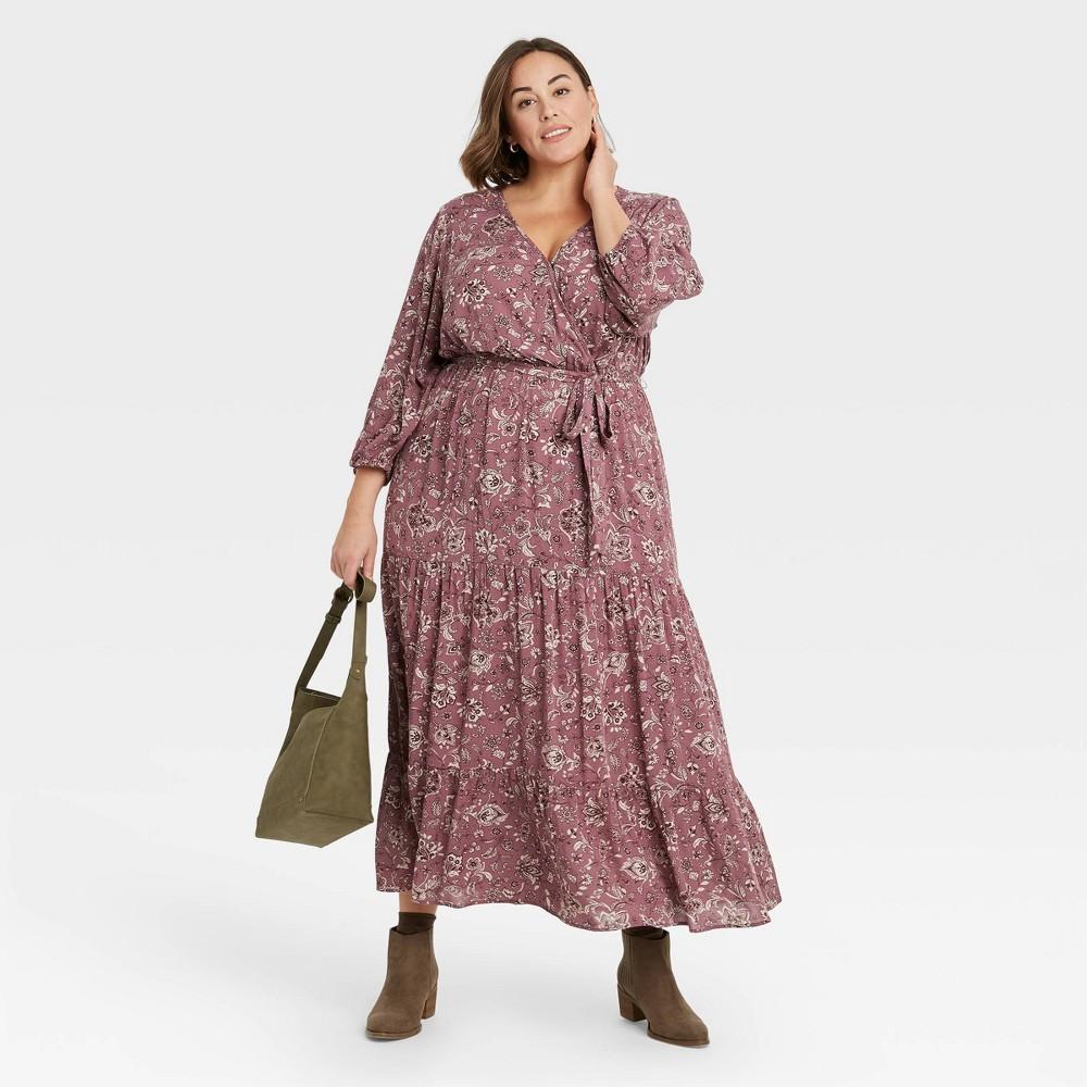 70s Dresses – Disco Dress, Hippie Dress, Wrap Dress Womens Plus Size Floral Print Long Sleeve Wrap Dress - Knox Rose Purple 4X $34.99 AT vintagedancer.com