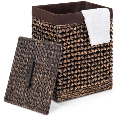Best Choice Products Decorative Woven Water Hyacinth Wicker Laundry Clothes Hamper Basket w/ Liner, Lid