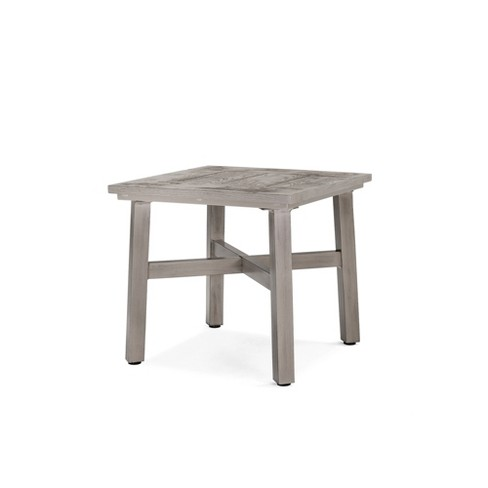 Colfax Square Aluminum Outdoor Side Table Blue Oak