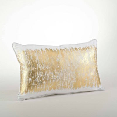 Down Filled Metallic Banded Design Pillow - Saro Lifestyle