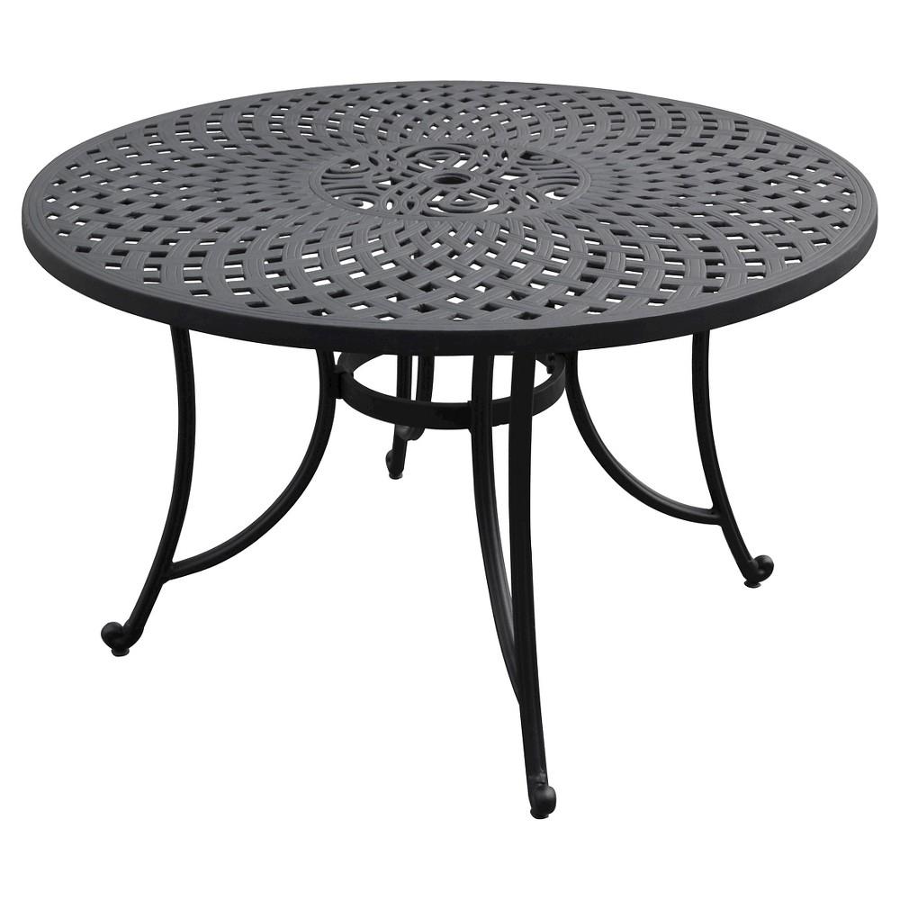 Sedona 46 Cast Aluminum Dining Table in Charcoal Black Finish