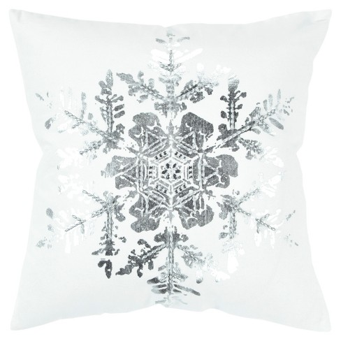 Snowflake Decorative Filled Oversize Square Throw Pillow - Rizzy Home - image 1 of 4
