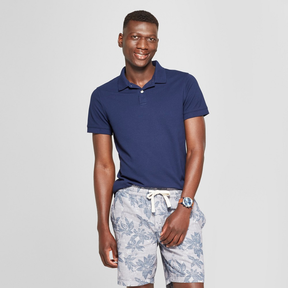 Men's Short Sleeve Slim Fit Loring Polo Shirt - Goodfellow & Co Navy Voyage S