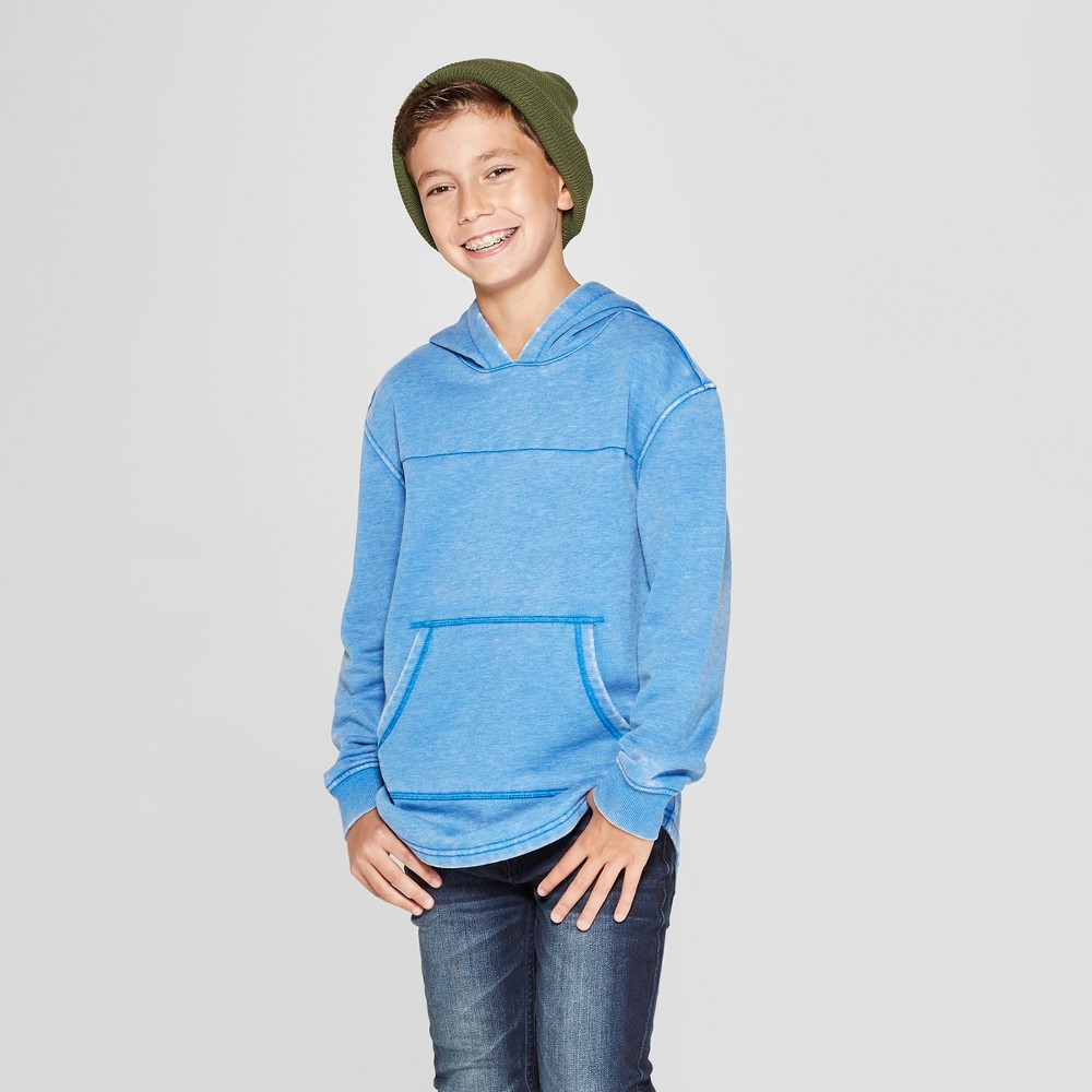 Boys' Hooded Sunburn Wash Sweatshirt - Cat & Jack Blue XL