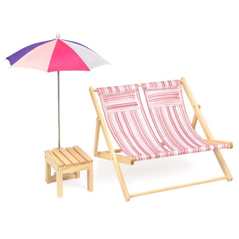 Remarkable Badger Basket Double Doll Beach Chair With Table And Umbrella Summer Stripes Machost Co Dining Chair Design Ideas Machostcouk