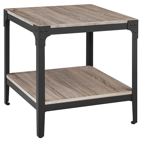 Angle Iron Rustic Wood End Table (Set Of 2) - Saracina Home