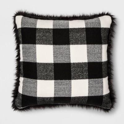 Faux Fur Reverse To Check Square Throw Pillow Black/Cream - Threshold™