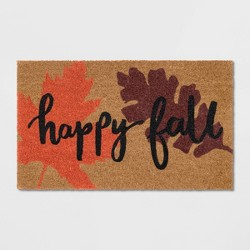 "18""X30"" Happy Fall Coir Doormat Black - Threshold™"