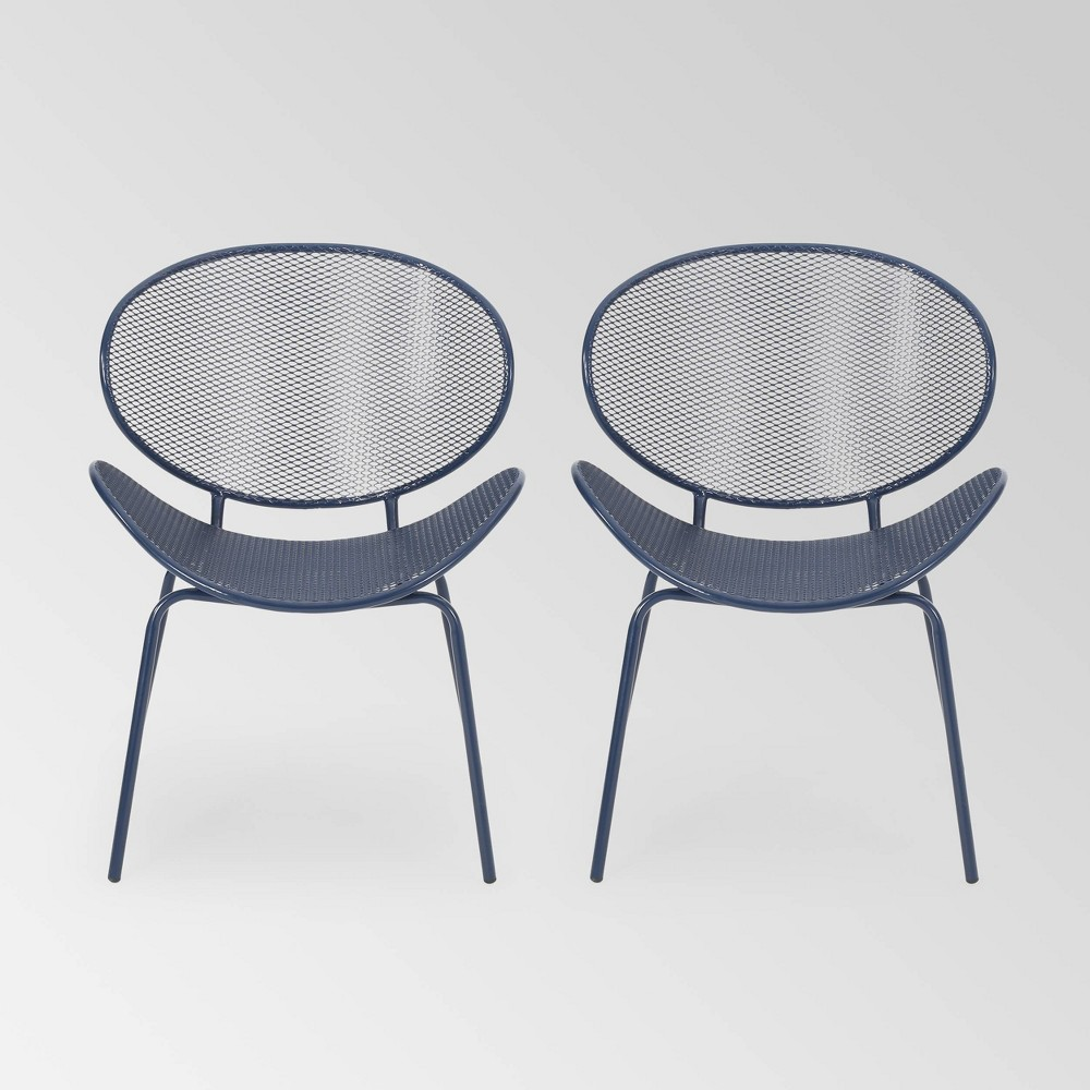 Lloree Set Of 2 Iron Dining Chairs Matte Navy Blue Christopher Knight Home