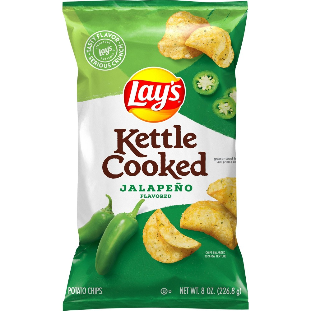 Lay S Kettle Cooked Jalape 241 O Flavored Potato Chips 8oz