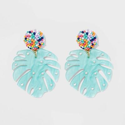 SUGARFIX by BaubleBar Beads Resin Monstera Leaf Earrings