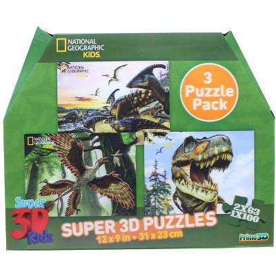 """National Geographic National Geographic- Super 3D Children's 63/100pc Dinosaur Puzzle Set of 3 12"""" x 9"""""""