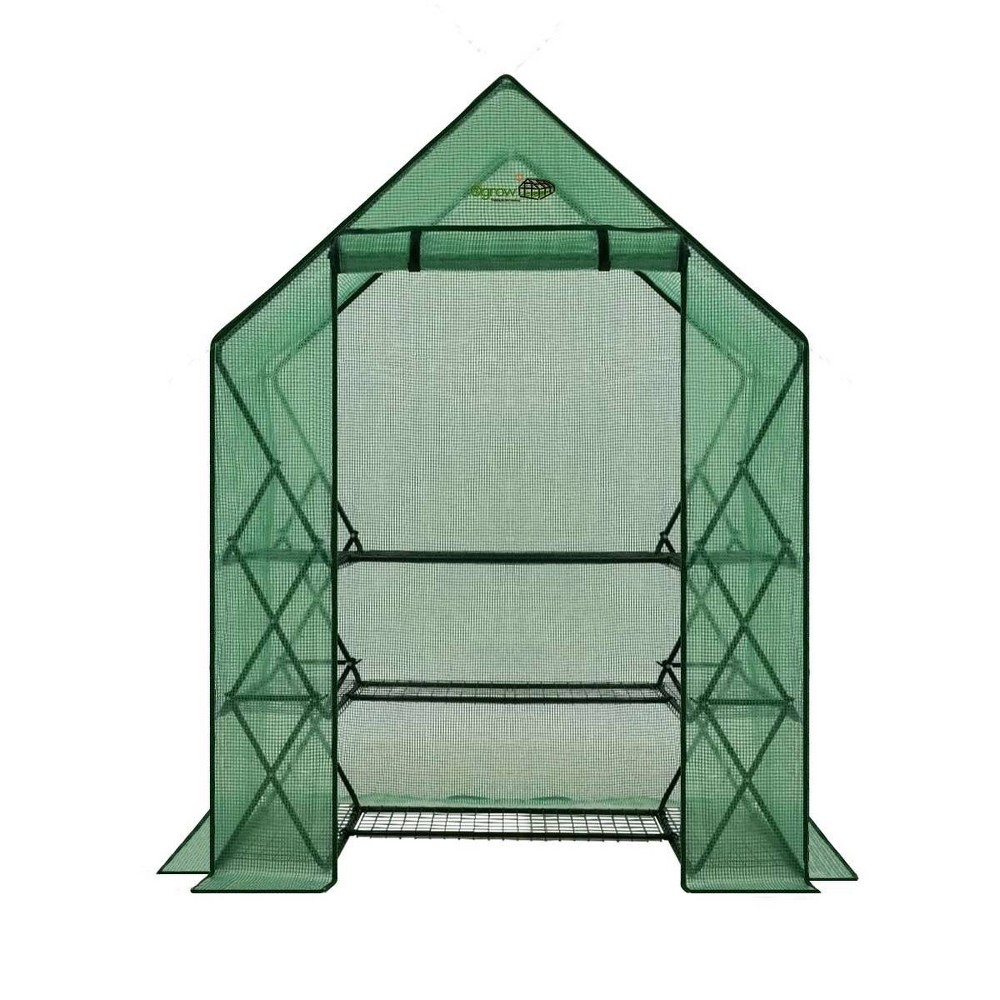 Image of 3 Tier 9 Shelf Pop-Up Greenhouse with Green Premium PE Cover - OGrow