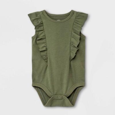 Baby Girls' Ruffle Short Sleeve Bodysuit - Cat & Jack™ Olive Green 0-3M