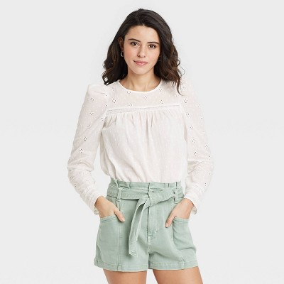 Women's Puff Long Sleeve Eyelet Top - Universal Thread™