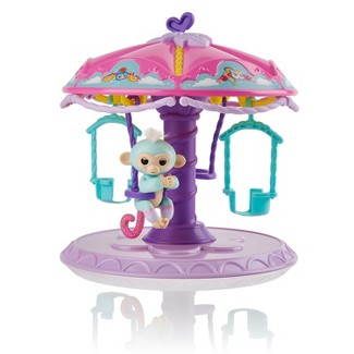 Fingerlings Playset Twirl-a-Whirl Carousel with 1 Fingerlings Baby Monkey - Abigail (Light Blue with Pink Glitter) By WowWee
