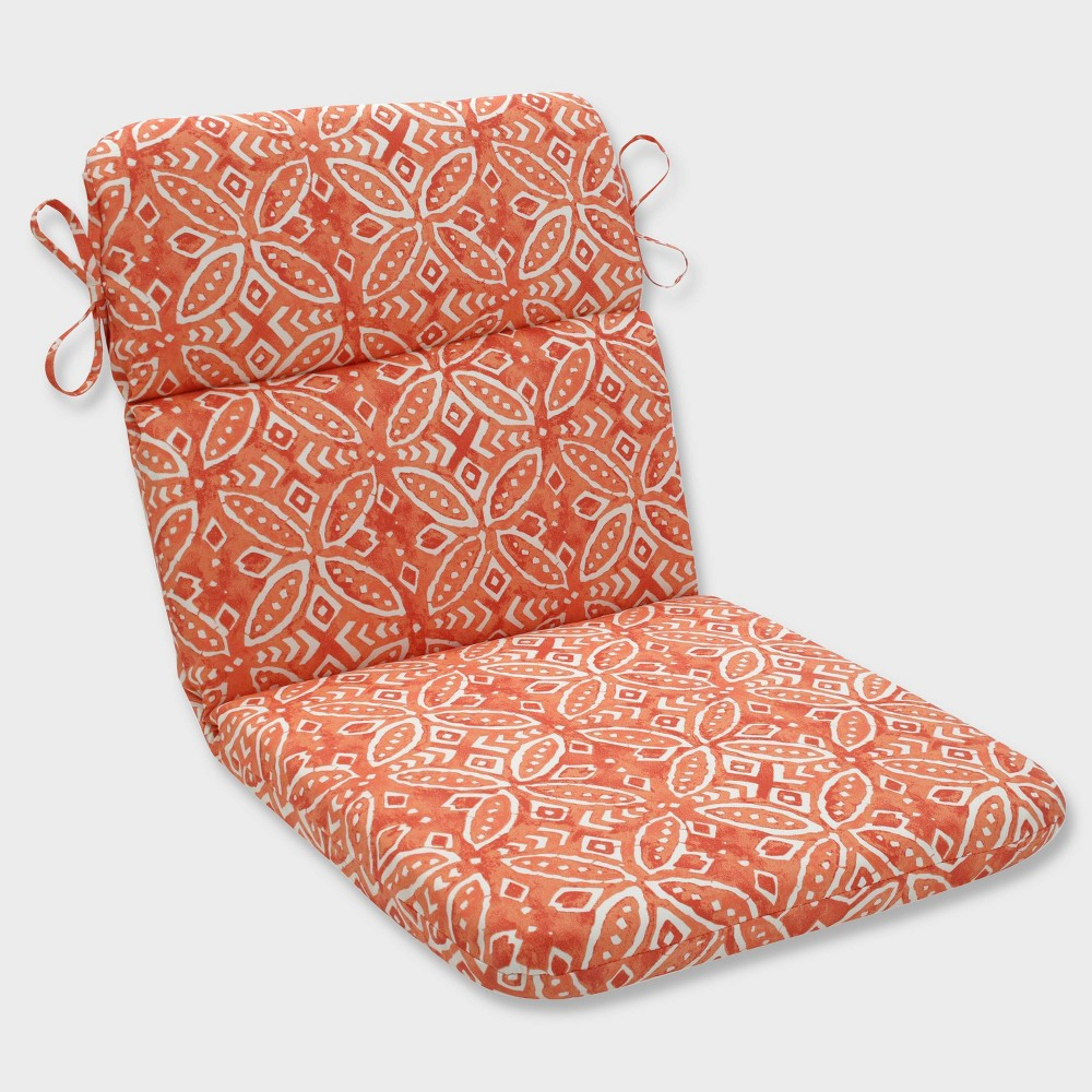 Merida Pimento Rounded Corners Outdoor Chair Cushion Orange - Pillow Perfect
